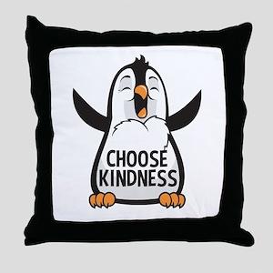 Choose Kind Happy Penguin Throw Pillow