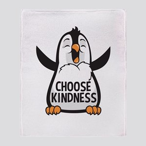 Choose Kind Happy Penguin Throw Blanket