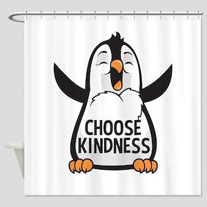 Choose Kind Happy Penguin Shower Curtain