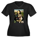Mona / Labrador Women's Plus Size V-Neck Dark T-Sh