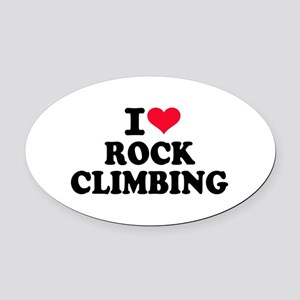 I love rock climbing Oval Car Magnet