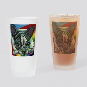Rainbow Frenchie Drinking Glass