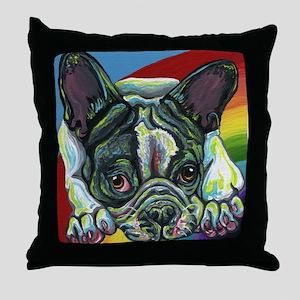 Rainbow Frenchie Throw Pillow