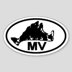 Martha's Vineyard MV Map Oval Sticker