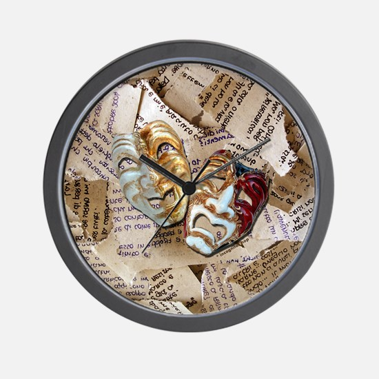 Drama Masks Wall Clock