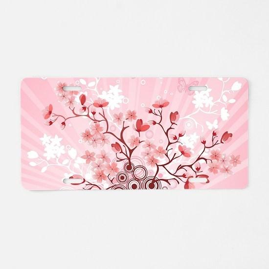 Sakura Explosion Aluminum License Plate