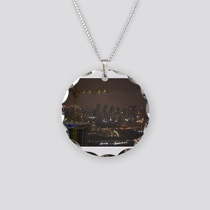 Construction Cranes at night Necklace Circle Charm