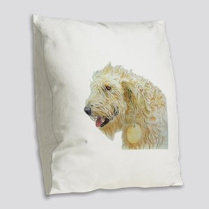 Cream Labradoodle 2 Burlap Throw Pillow