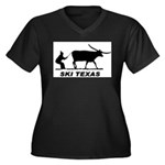 Ski Texas Women's Plus Size V-Neck Dark T-Shirt
