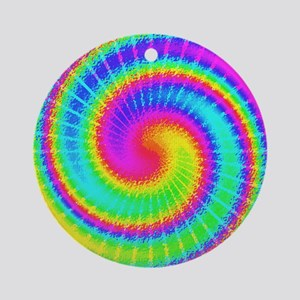 Retro TieDyed Tie Dye Swirl Colorful 60s Round Orn
