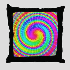 Retro TieDyed Tie Dye Swirl Colorful 60s Throw Pil
