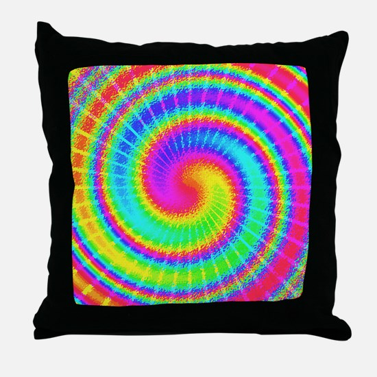 Retro TieDyed Tie Dye Swirl Colorful 60s Throw Pil