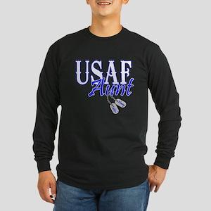 Air Force Aunt Dog Tag Long Sleeve Dark T-Shirt