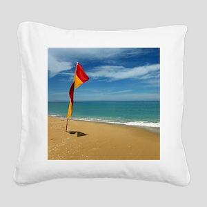 Ocean Beach Lifeguard Safety Square Canvas Pillow