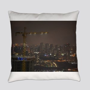 Construction Cranes at night with Everyday Pillow