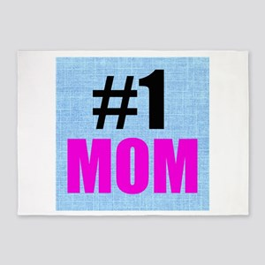 Number One Mom 5'x7'Area Rug