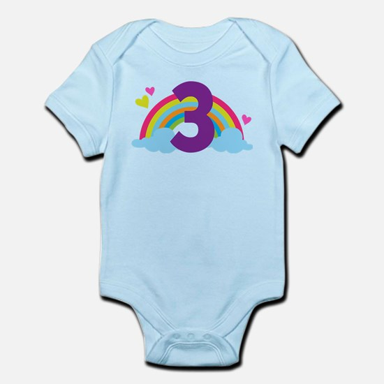 3rd Birthday Hearts and Rainbow Body Suit