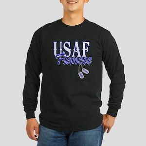 Air Force Fiancee Dog Tag Long Sleeve Dark T-Shirt