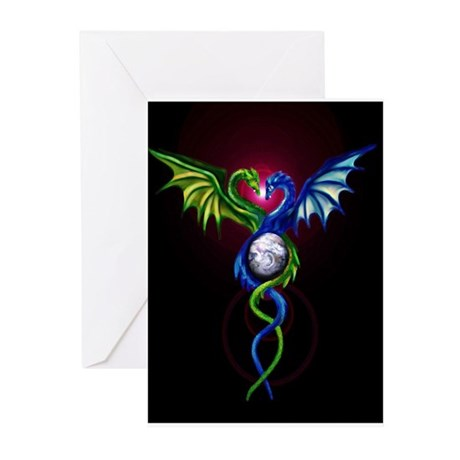 Dragon Caduceus Greeting Cards (Pk of 10)