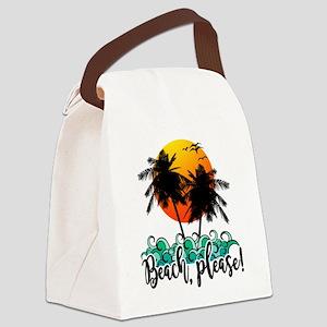 Beach Please Funny Summer Canvas Lunch Bag