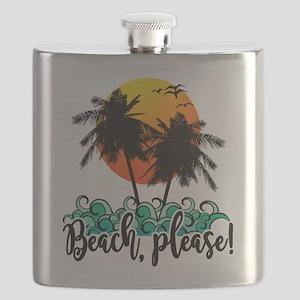 Beach Please Funny Summer Flask