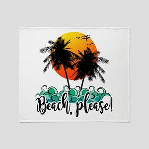 Beach Please Funny Summer Throw Blanket