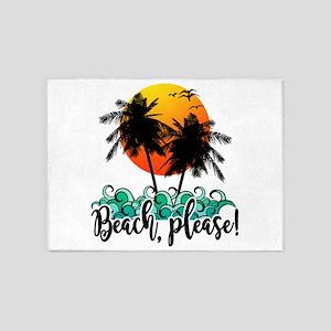 Beach Please Funny Summer 5'x7'Area Rug