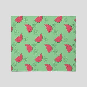 Watermelon Flowers Throw Blanket
