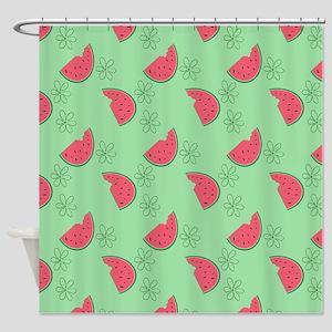 Watermelon Flowers Shower Curtain