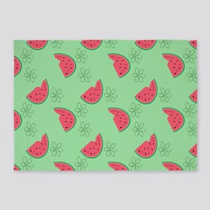 Watermelon Flowers 5'x7'Area Rug