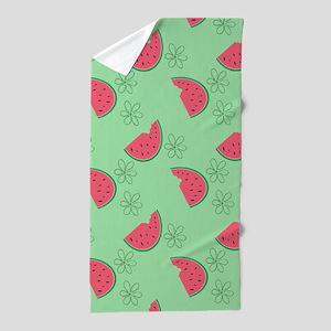 Watermelon Flowers Beach Towel