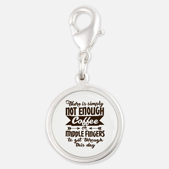 Not Enough Coffee Funny Silver Round Charm