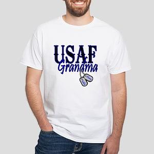 Air Force Grandma Dog Tag White T-Shirt