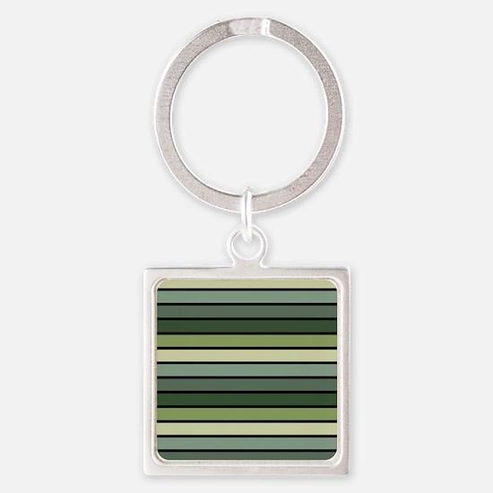Monochrome Stripes: Shades of Gree Square Keychain