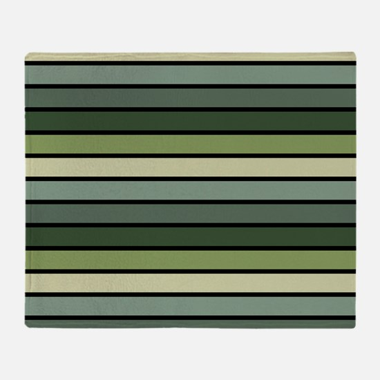 Monochrome Stripes: Shades of Green Throw Blanket