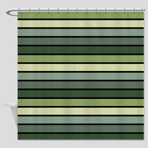 Monochrome Stripes: Shades of Green Shower Curtain