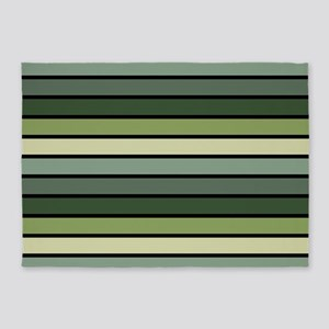 Monochrome Stripes: Shades of Green 5'x7'Area Rug
