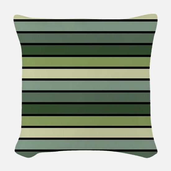 Monochrome Stripes: Shades of Woven Throw Pillow