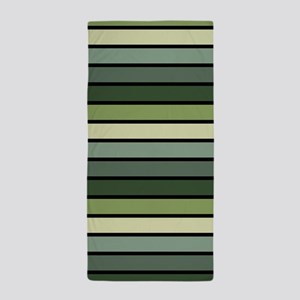 Monochrome Stripes: Shades of Green Beach Towel