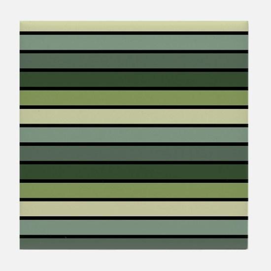Monochrome Stripes: Shades of Green Tile Coaster