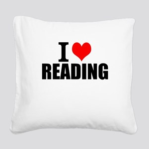 I Love Reading Square Canvas Pillow