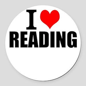 I Love Reading Round Car Magnet