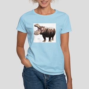 Hippo Hippopotamus (Front) Women's Pink T-Shirt