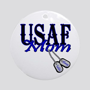 Air Force Mom Dog Tag Ornament (Round)
