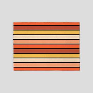 Multicolored Stripes: Orange, Pink 5'x7'Area Rug