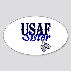 Air Force Sister Dog Tag Oval Sticker