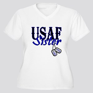 Air Force Sister Dog Tag Women's Plus Size V-Neck