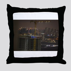 Construction Cranes at night with cit Throw Pillow