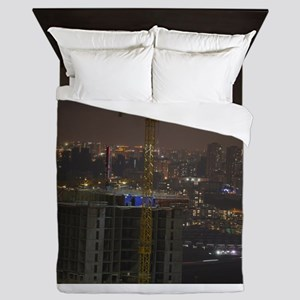 Construction Cranes at night with city Queen Duvet