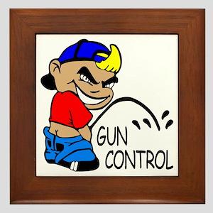P On Gun Control Framed Tile